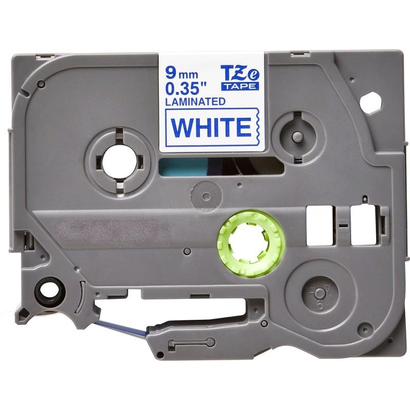 Fita laminada 9mm Azul/Branco