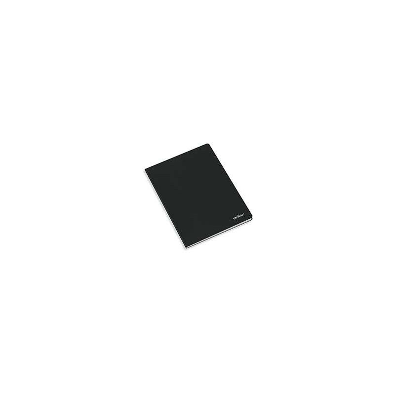 Caderno Agrafado Capa Preta Ambar A5 Quadriculado 80 Folhas