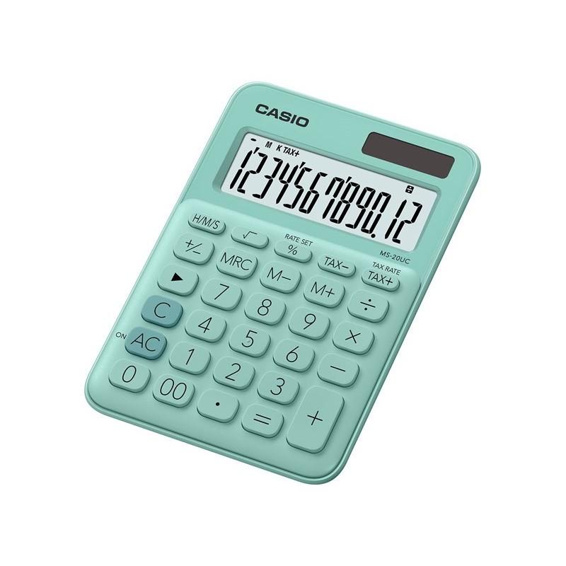 Calculadora de Secretária Casio MS20UCGN Verde Claro 12 Dígitos