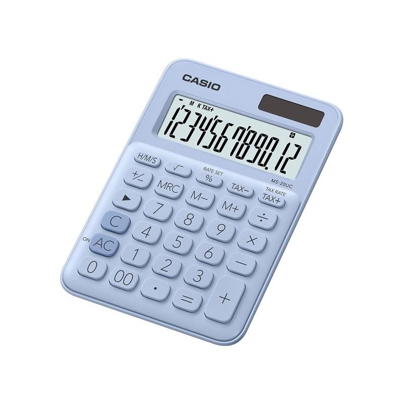 Calculadora de Secretária Casio MS20UCLB Azul Claro 12 Dígitos