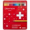 Lápis Cor Caran D'Ache Swisscolor Cx Metal 18 Cores